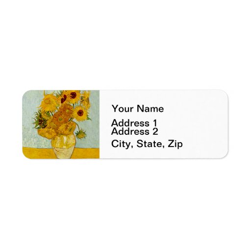 Vincent Van Gogh Sunflower Painting Return Address Label