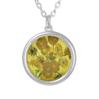 Vincent Van Gogh Sunflower Silver Plated Necklace