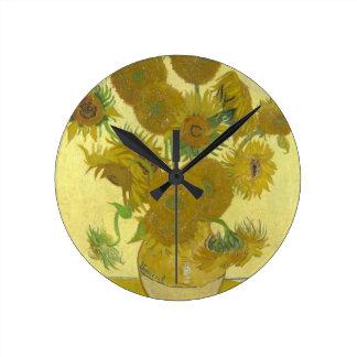Vincent van Gogh Sunflowers 1888 Flowers Painting Round Clock