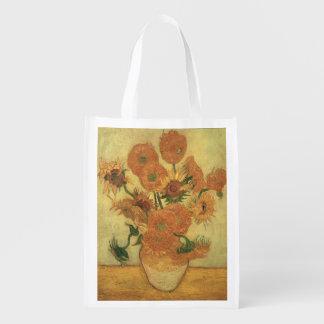 Vincent van Gogh | Sunflowers, 1889 Reusable Grocery Bags