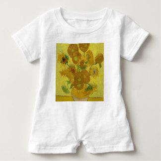 Vincent Van Gogh Sunflowers - Classic Art Floral Baby Romper