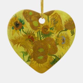 Vincent Van Gogh Sunflowers - Classic Art Floral Ceramic Heart Ornament