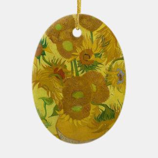 Vincent Van Gogh Sunflowers - Classic Art Floral Ceramic Oval Ornament