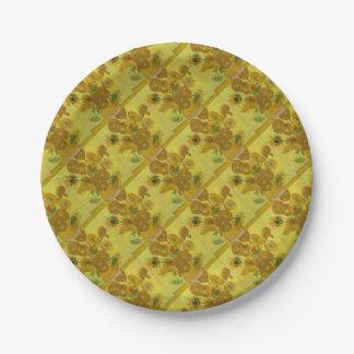 Vincent Van Gogh Sunflowers - Classic Art Floral Paper Plate