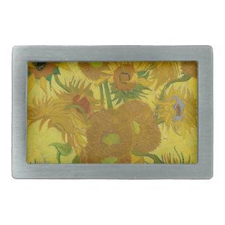 Vincent Van Gogh Sunflowers - Classic Art Floral Rectangular Belt Buckles