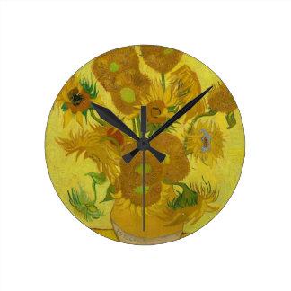 Vincent Van Gogh Sunflowers - Classic Art Floral Round Clock