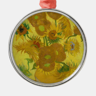 Vincent Van Gogh Sunflowers - Classic Art Floral Silver-Colored Round Ornament