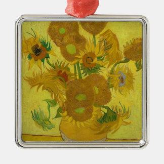 Vincent Van Gogh Sunflowers - Classic Art Floral Silver-Colored Square Ornament