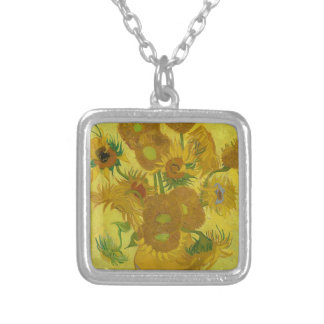 Vincent Van Gogh Sunflowers - Classic Art Floral Silver Plated Necklace