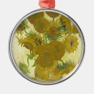 Vincent van Gogh sunflowers vase flowers art Silver-Colored Round Ornament