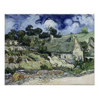 Vincent van Gogh Thatched Cottage at Cordeville Poster