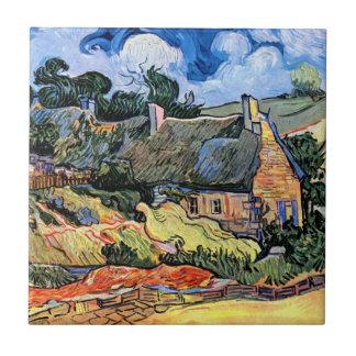 Vincent Van Gogh - Thatched Cottages At Cordeville Tile