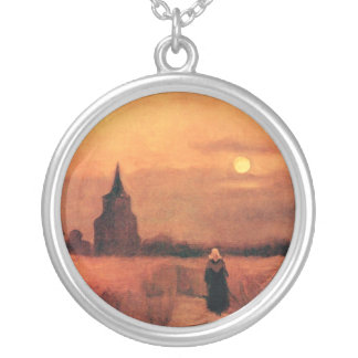 Vincent Van Gogh - The Old Tower In The Fields Silver Plated Necklace