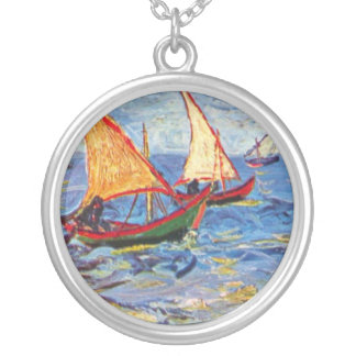 Vincent Van Gogh - The Sea At Saintes Maries Silver Plated Necklace