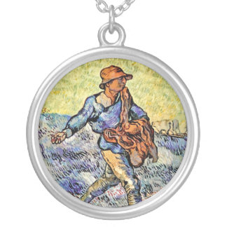 Vincent Van Gogh - The Sower - Fine Art Painting Silver Plated Necklace