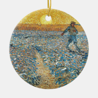 Vincent Van Gogh The Sower Painting Art Ceramic Ornament