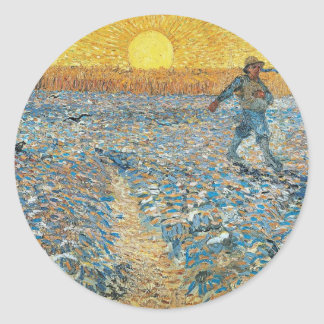 Vincent Van Gogh The Sower Painting Art Classic Round Sticker