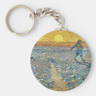 Vincent Van Gogh The Sower Painting Art Keychain