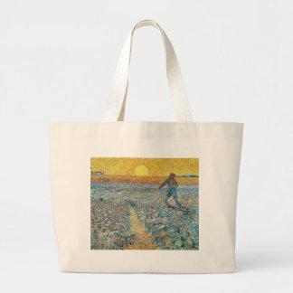 Vincent Van Gogh The Sower Painting Art Large Tote Bag