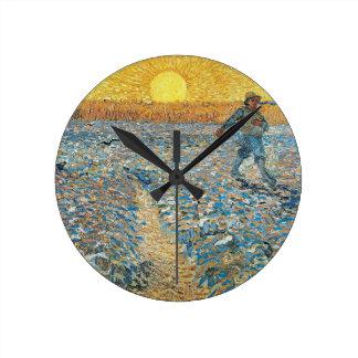 Vincent Van Gogh The Sower Painting Art Round Clock