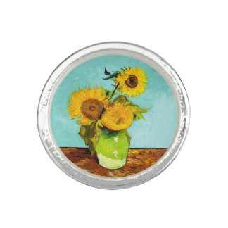 Vincent Van Gogh Three Sunflowers In A Vase Photo Rings