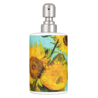 Vincent Van Gogh Three Sunflowers In A Vase Soap Dispenser And Toothbrush Holder