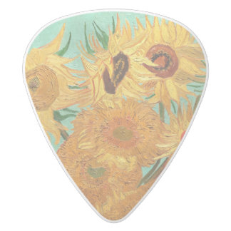 Vincent Van Gogh Twelve Sunflowers In A Vase White Delrin Guitar Pick