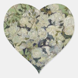 Vincent Van Gogh Vase of Roses Painting Floral Art Heart Sticker