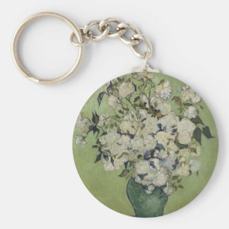 Vincent Van Gogh Vase of Roses Painting Floral Art Keychain