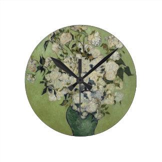 Vincent Van Gogh Vase of Roses Painting Floral Art Round Clock