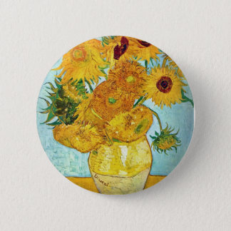 Vincent van Gogh - Vase with 12 Sunflowers 2 Inch Round Button