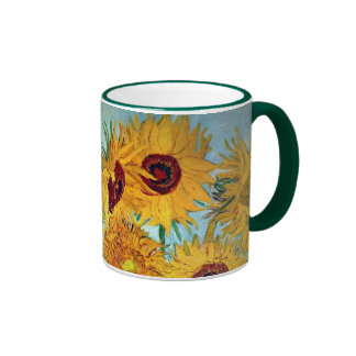 Vincent van Gogh - Vase with 12 Sunflowers Ringer Coffee Mug
