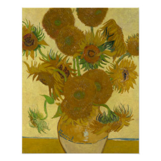 Vincent Van Gogh Vase with 15 Sunflowers Poster