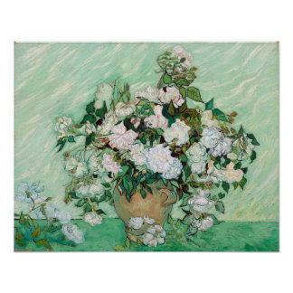 Vincent van Gogh Vase with Pink Roses Poster