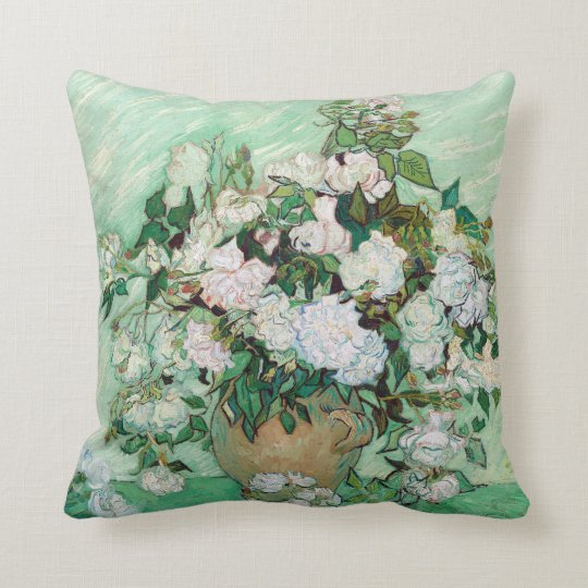 Vincent van Gogh Vase with Pink Roses Throw Pillow