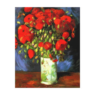 Vincent Van Gogh Vase With Red Poppies Floral Art Canvas Print