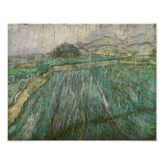 Vincent Van Gogh Wheat Field In Rain Fine Art Poster