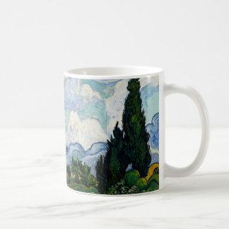 Vincent Van Gogh Wheat Field With Cypresses Basic White Mug