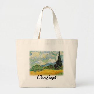 Vincent Van Gogh - Wheat Field with Cypresses Jumbo Tote Bag