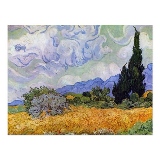 Vincent van Gogh - Wheat Field with Cypresses Post Cards