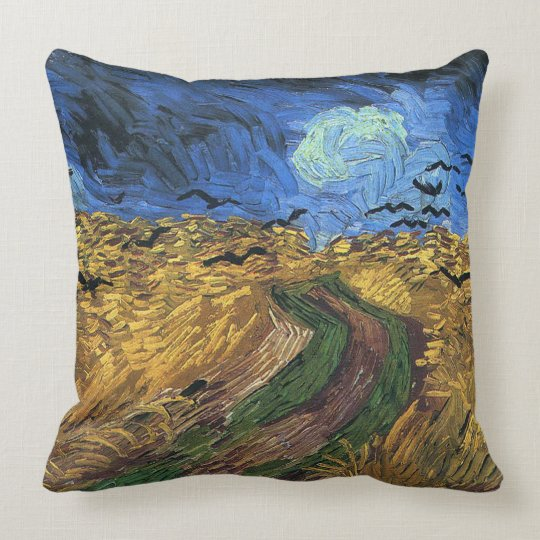 Vincent van Gogh-Wheatfield with Crows Throw Pillow