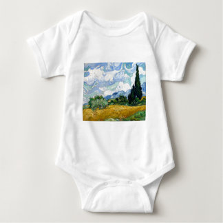 Vincent van Gogh Wheatfield with Cypresses Baby Bodysuit