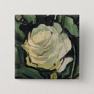Vincent Van Gogh White Roses Rose Vintage Art 2 Inch Square Button