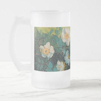 Vincent Van Gogh Wild Roses Vintage Floral Art Frosted Glass Mug