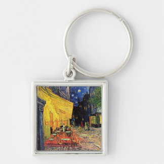 Vincent Van Gogh's 'Cafe Terrace' Keychain Silver-Colored Square Keychain