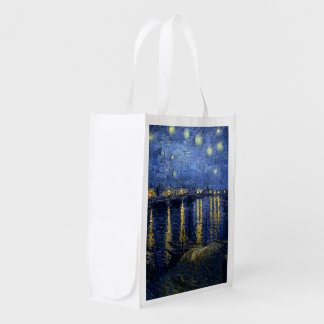 Vincent van Gogh's Starry Night Over the Rhone Reusable Grocery Bag