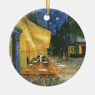 Vincent van Gogh's The Cafe Terrace Round Ceramic Ornament