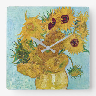 """Vincent Willem van Gogh, """"Sunflowers"""" Square Wall Clock"""