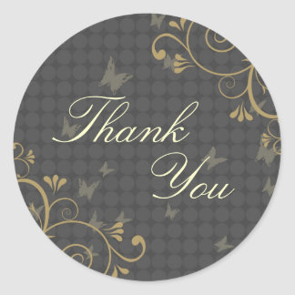 Vine & Butterfly Design Thank You Sticker