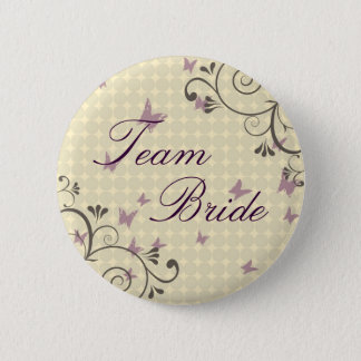 Vine & Butterfly Team Bride Button Cream